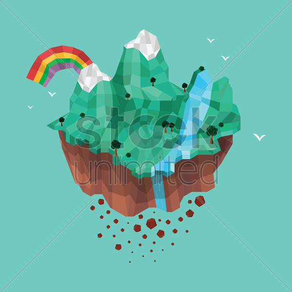 floating island vector graphic