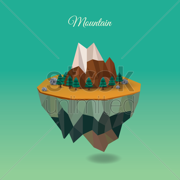 floating mountain island vector graphic