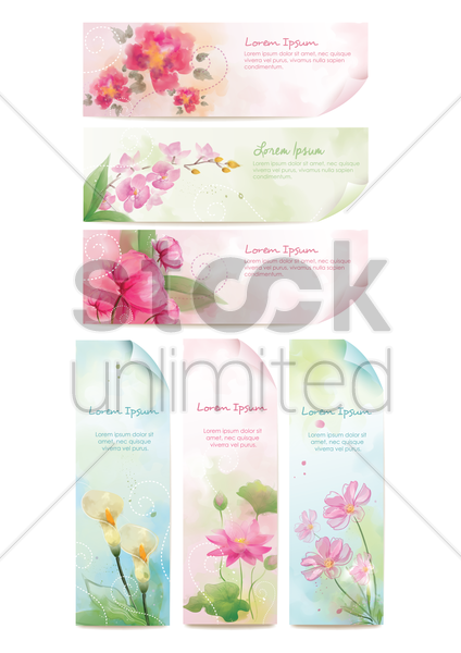 floral banner set vector graphic