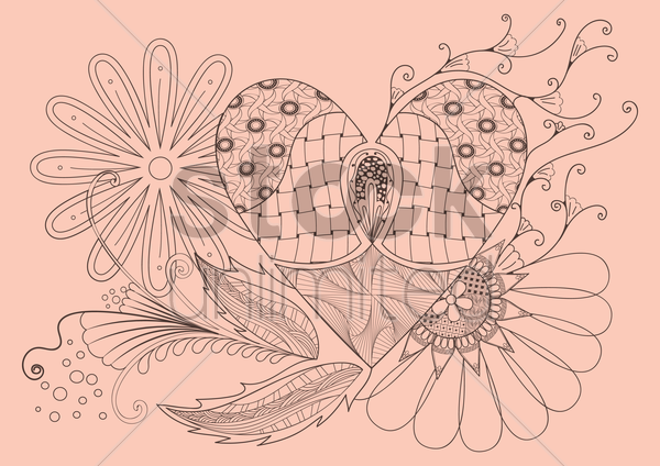 floral heart shaped decorative design vector graphic