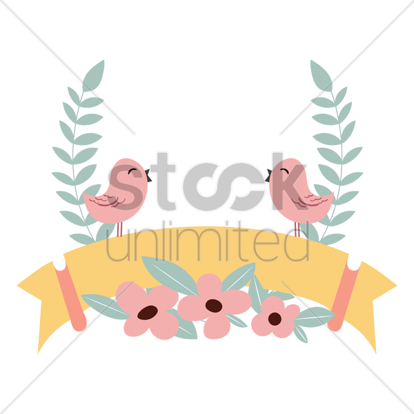 floral label vector graphic