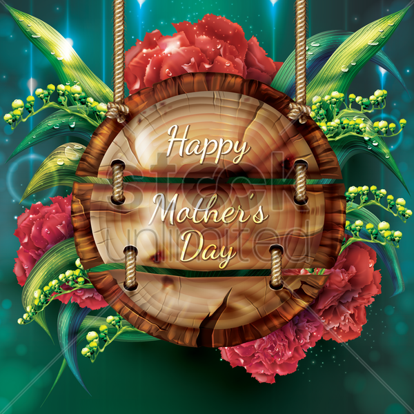 floral mothers day card vector graphic
