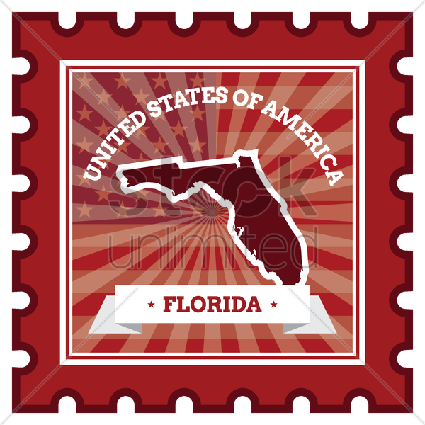 florida postage stamp vector graphic