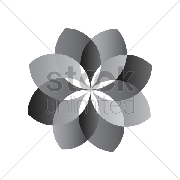 flower in black and white pattern vector graphic