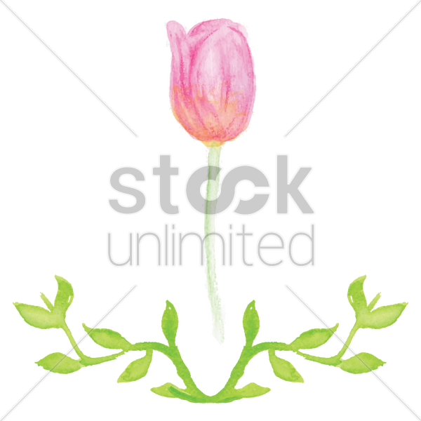 flower with leaves vector graphic