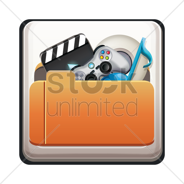 folder with multimedia icon vector graphic