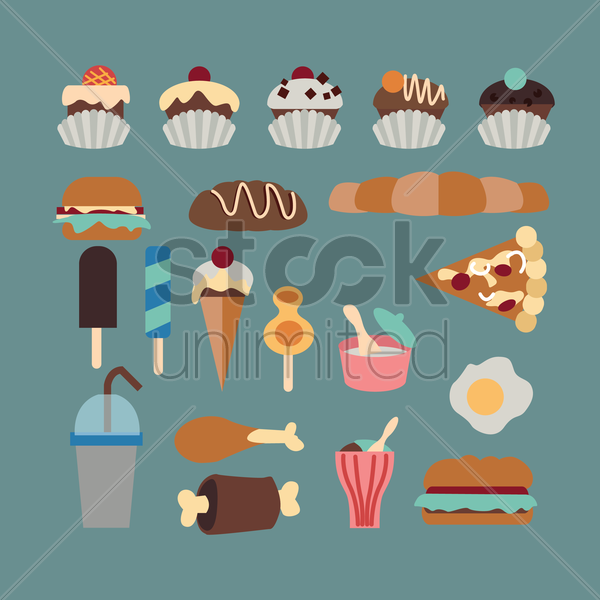 food and desserts vector graphic