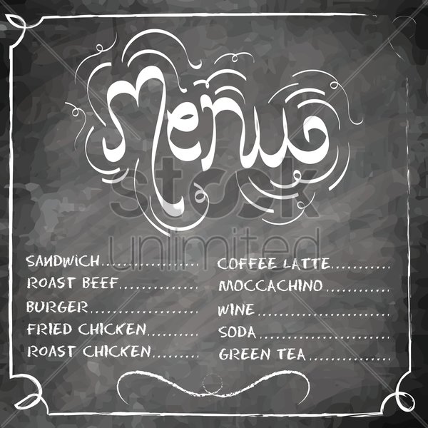 food and drinks menu design vector graphic