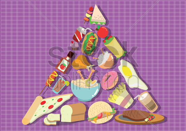food in triangle shape vector graphic