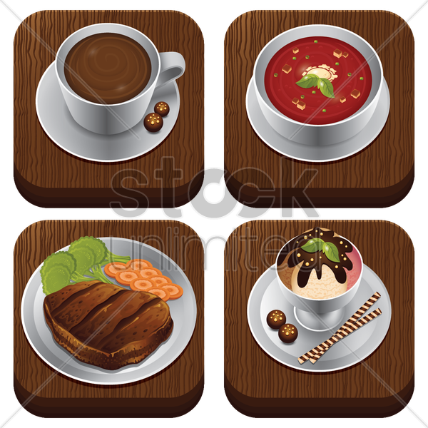 food item set vector graphic