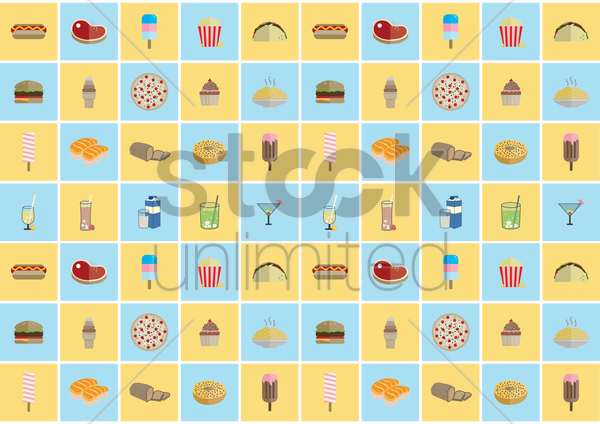 food patterned background vector graphic