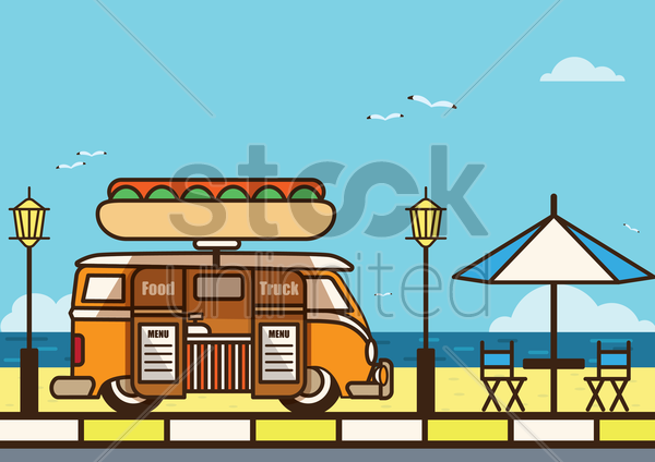 food truck at beach vector graphic