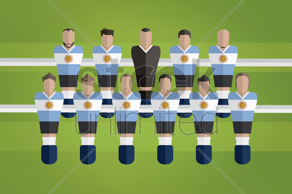 foosball figurines represent argentina football team vector graphic