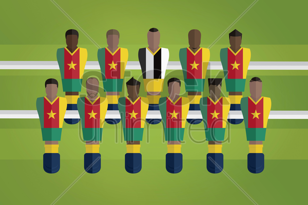 foosball figurines represent cameroon football team vector graphic