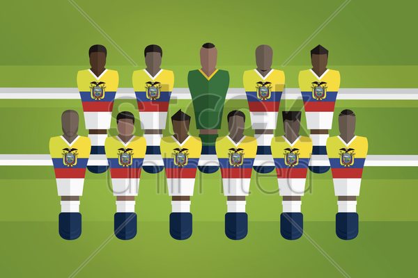 foosball figurines represent ecuador football team vector graphic
