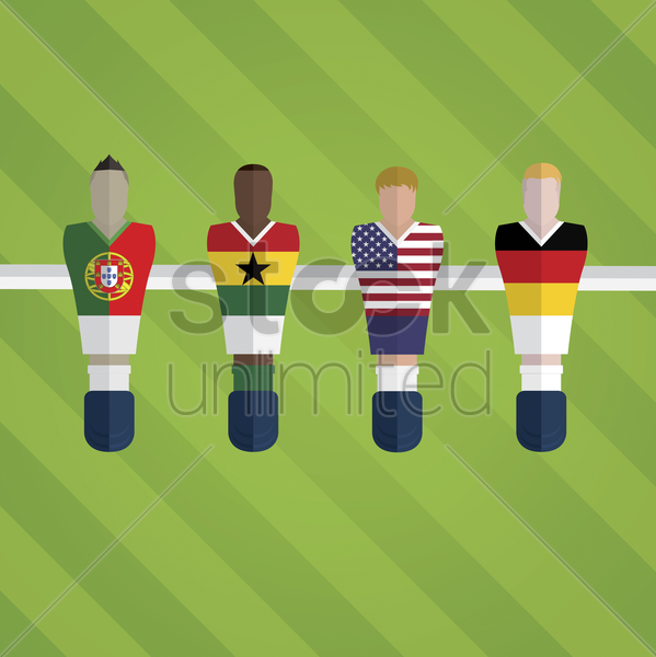 foosball figurines represent football team vector graphic