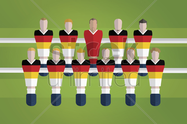 foosball figurines represent germany football team vector graphic