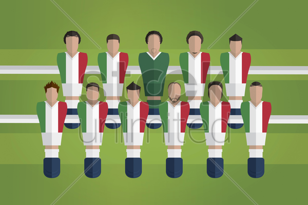 foosball figurines represent italy football team vector graphic