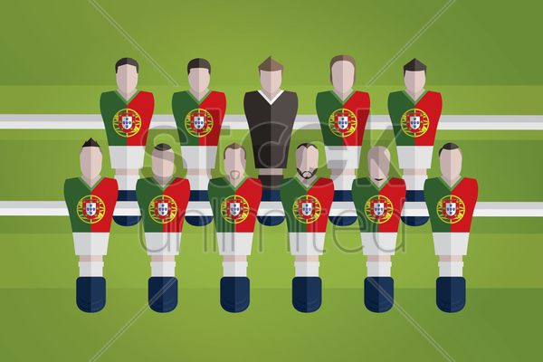 foosball figurines represent portugal football team vector graphic
