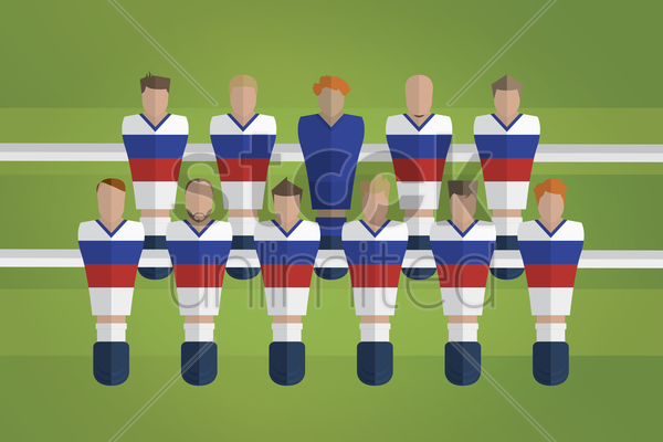 foosball figurines represent russia football team vector graphic
