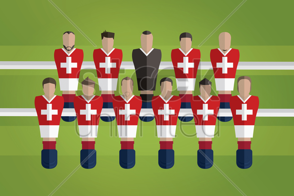 foosball figurines represent switzerland football team vector graphic