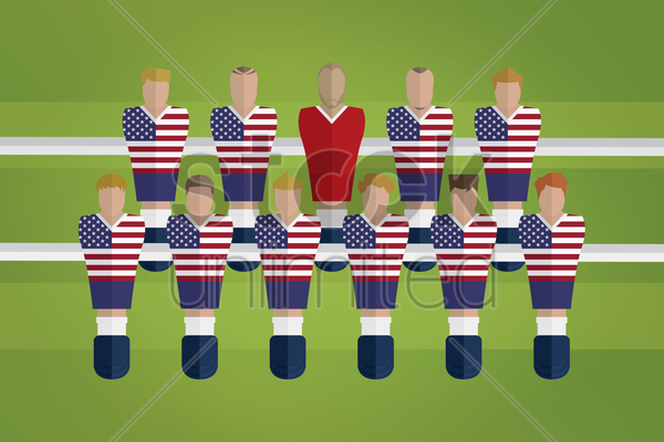 foosball figurines represent usa football team vector graphic