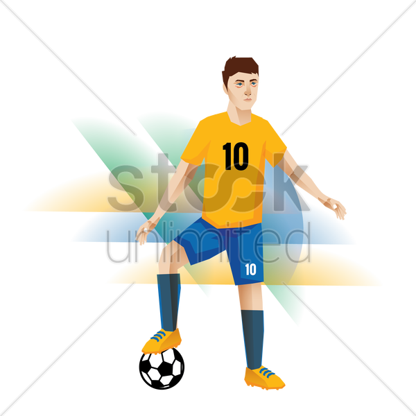 football player in a match vector graphic