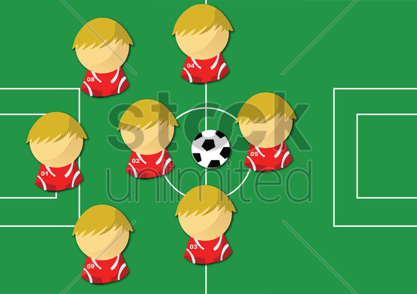 football players in field with ball. vector graphic