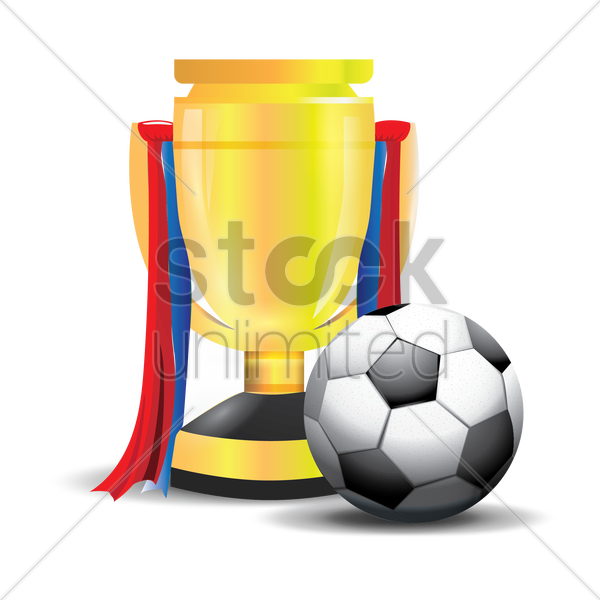 football with trophy vector graphic