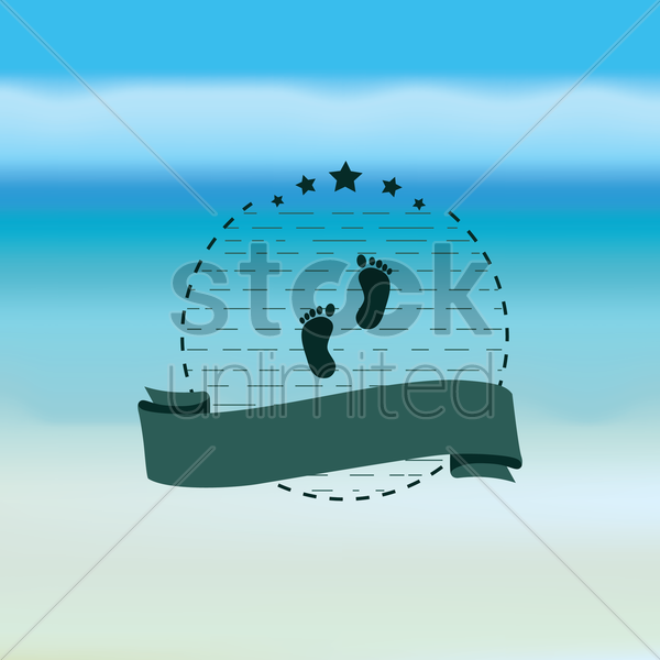 footprints and banner vector graphic