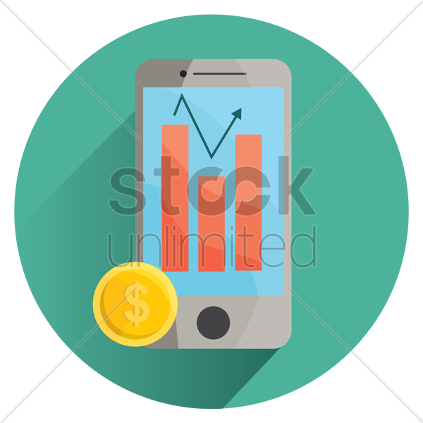 foreign exchange app on smartphone vector graphic