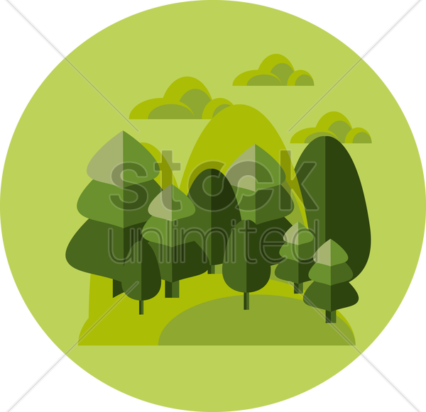 forest and mountain vector graphic