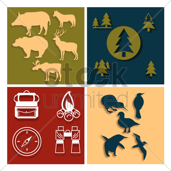 forest icons vector graphic