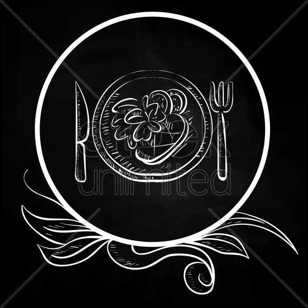 fork and knife with food on plate vector graphic