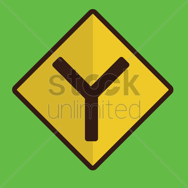 fork junction road sign vector graphic