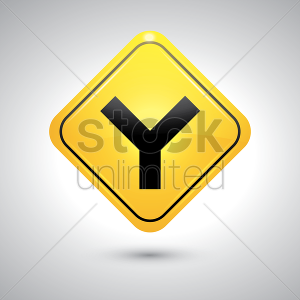 fork junction sign vector graphic