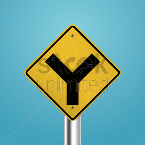 fork junction signboard vector graphic