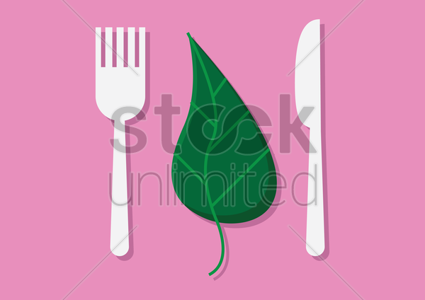 Free fork, leaf and knife vector graphic