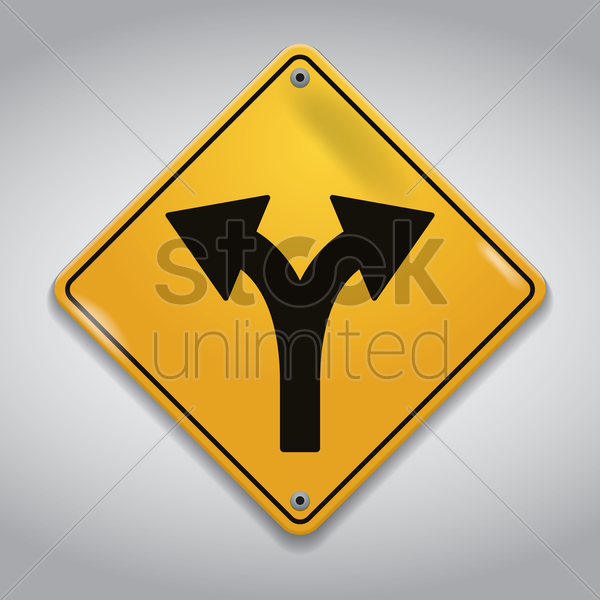 fork road sign vector graphic