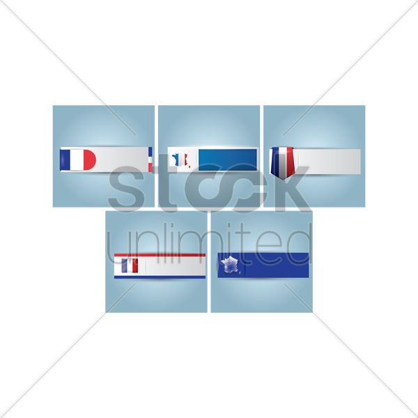 france banners set vector graphic