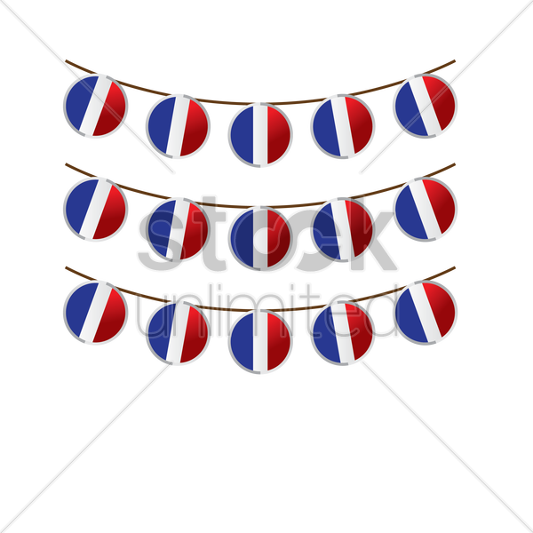 france flag buntings vector graphic