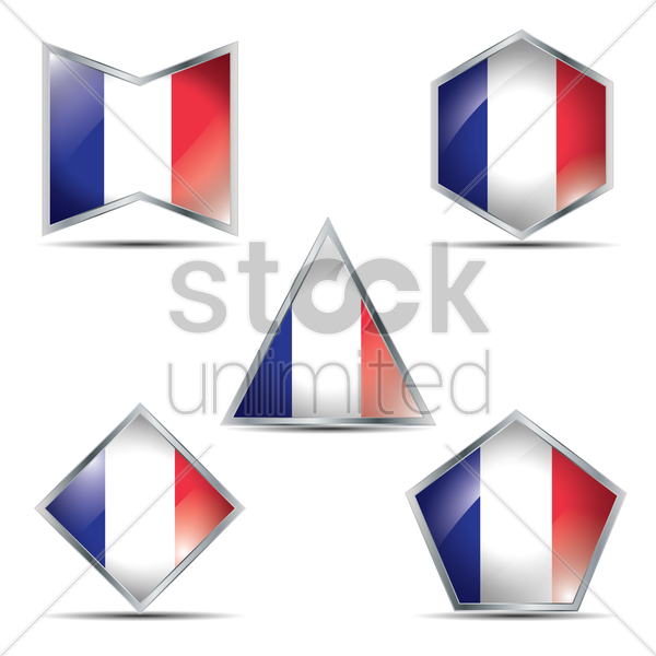 france flag buttons vector graphic