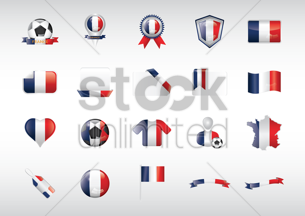 france flag icons set vector graphic