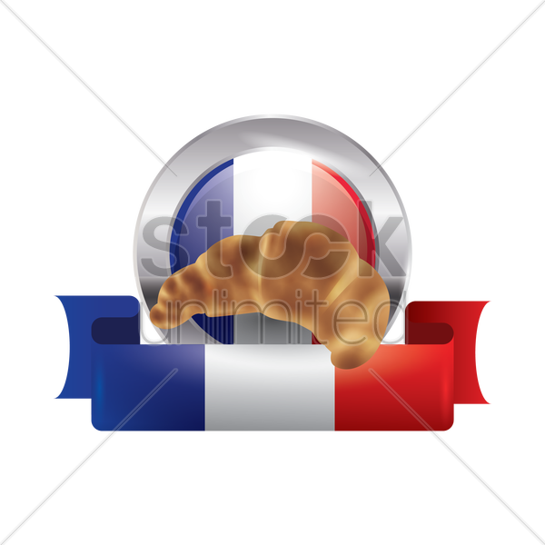 france flag with croissant vector graphic