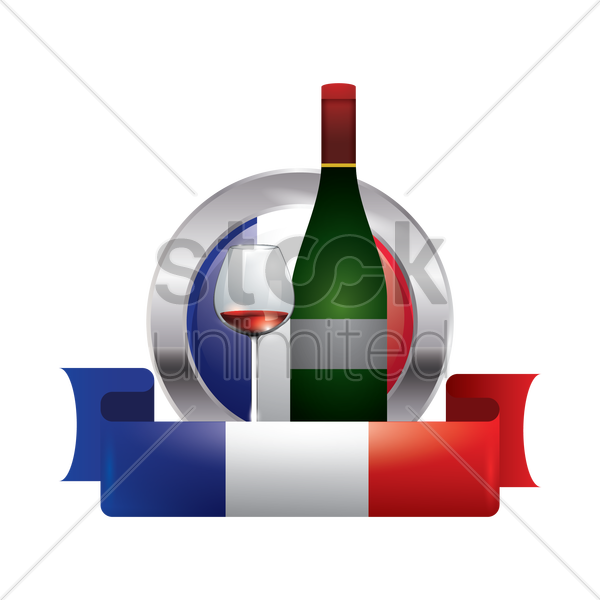 france flag with wine bottle vector graphic