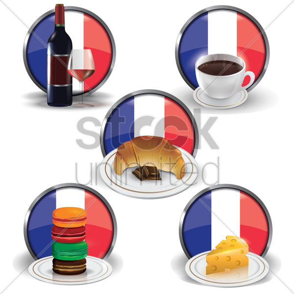 france food and drink collection vector graphic