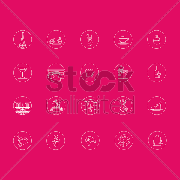 france icon collection vector graphic