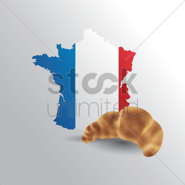 france map with croissant vector graphic