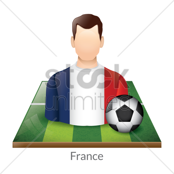 france player with soccer ball on field vector graphic