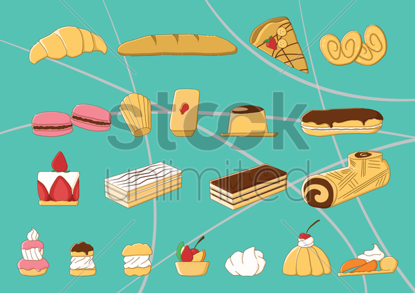france traditional food collection vector graphic